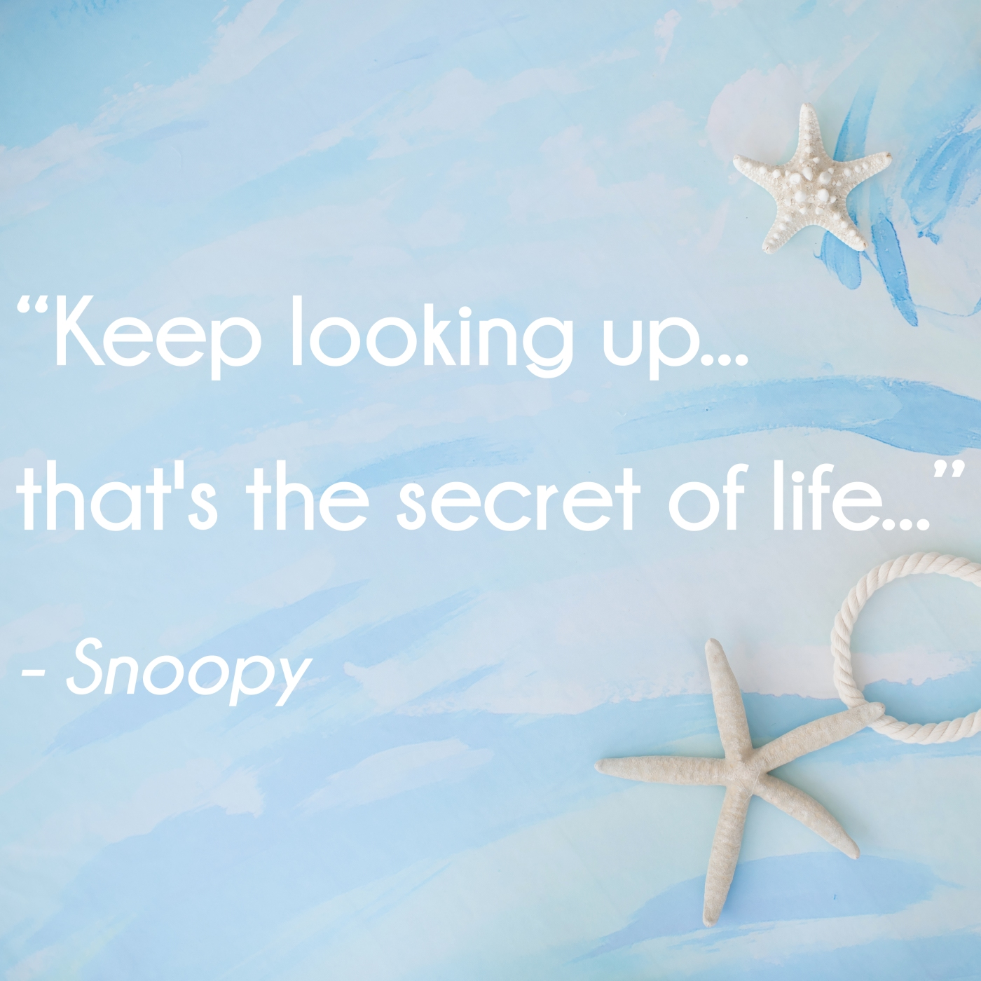 Keep looking up...that's the secret of life...