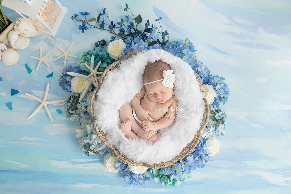 Sleepy summer beach baby girl nestled in soft whites and cool blue hydrangeas and shells for Connecticut newborn session baby portrait