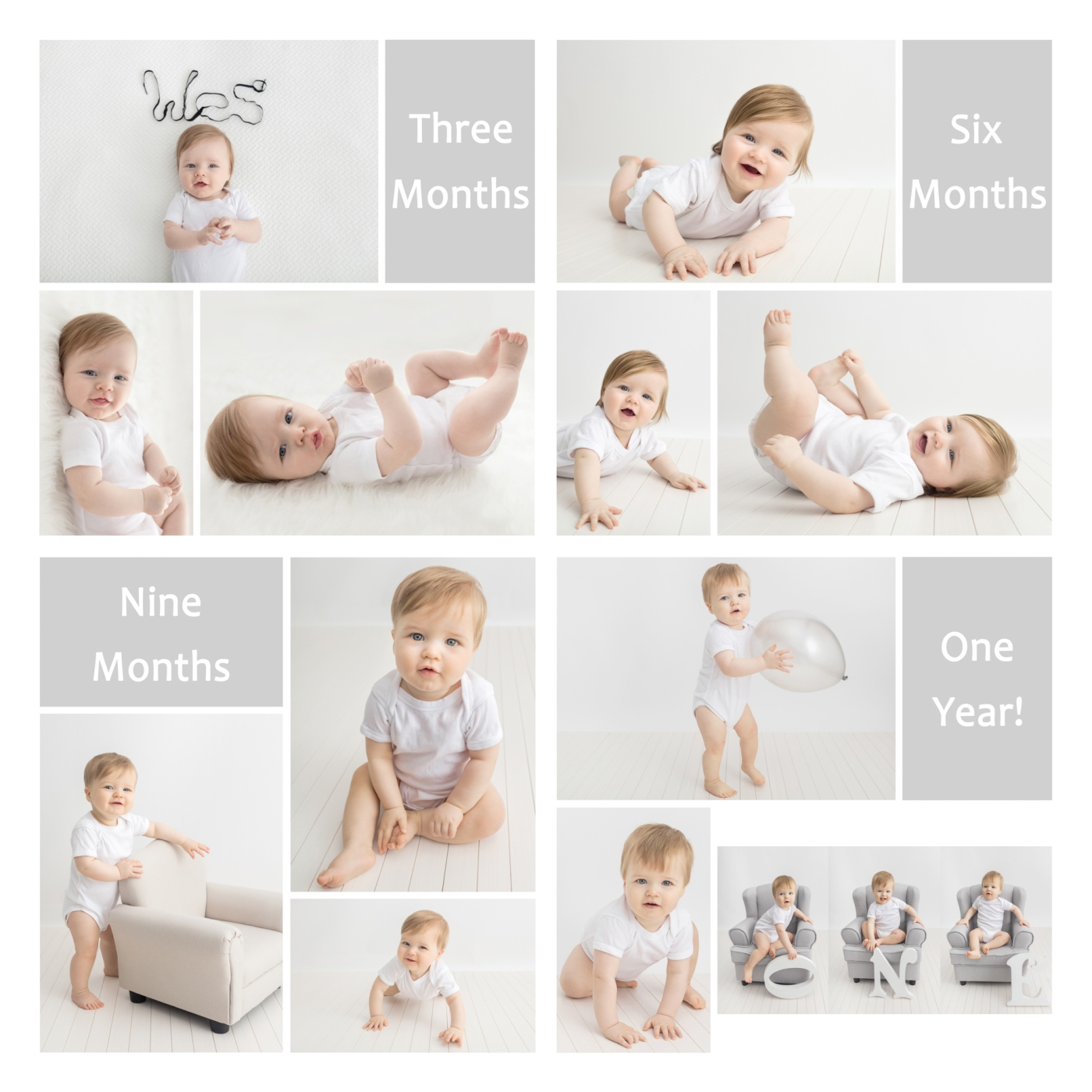Baby's 1st year baby Milestone Sessions