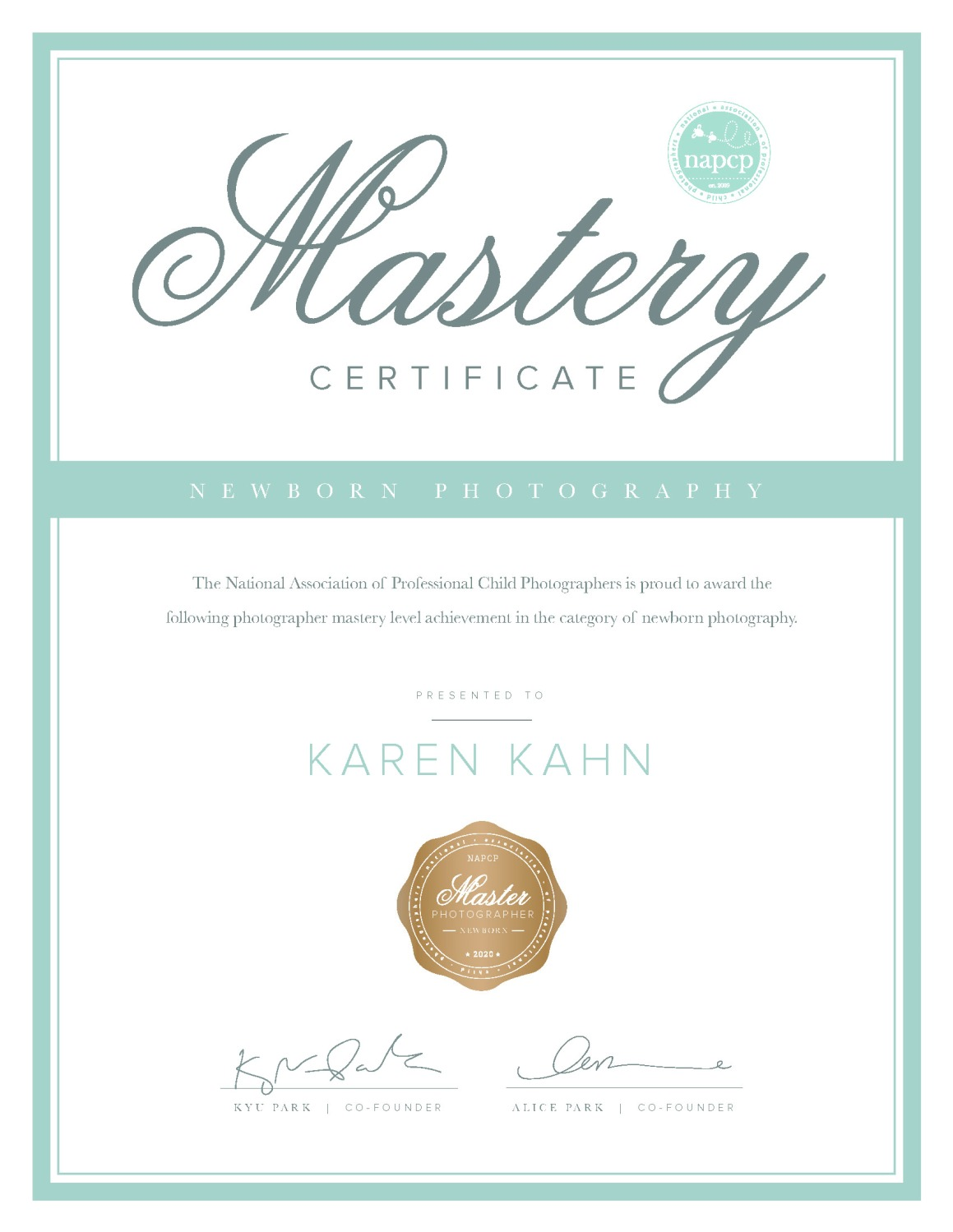 NAPCP Mastery Certificate of Newborn Photography, Karen Kahn, NAPCP Master Photographer Newborn Seal