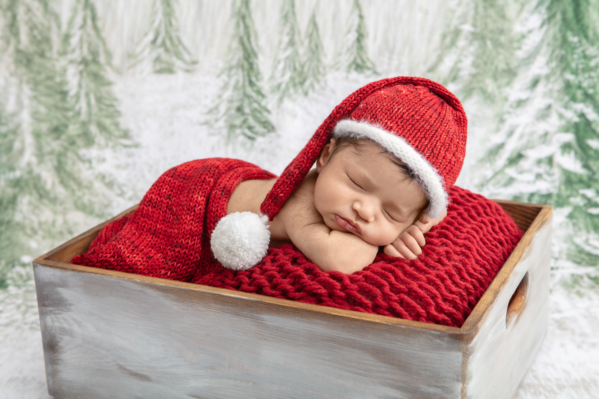 newborn baby wearing a Santa stocking cap and wrapped in a red chenille blanket